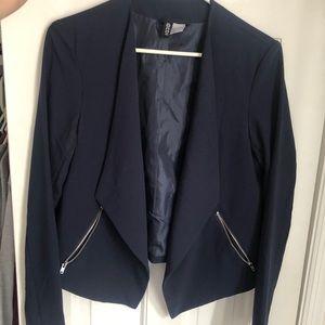 H&M blue blazer with zip pockets
